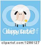 Clipart Of A Modern Flat Design Round Fluffy Sheep Eating A Flower Over Happy Easter Text On Blue Royalty Free Vector Illustration