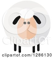 Clipart Of A Modern Flat Design Round Fluffy White Sheep With Black Ears And Legs And Shading Royalty Free Vector Illustration by Hit Toon