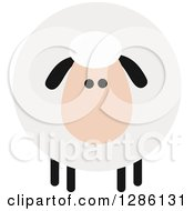 Modern Flat Design Round Fluffy White Sheep With Black Ears And Legs