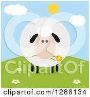 Clipart Of A Modern Flat Design Round Fluffy White Sheep Eating A Flower On A Hill Royalty Free Vector Illustration
