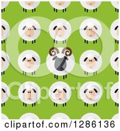 Clipart Of A Background Pattern Of Modern Flat Design Round Fluffy White And Black Sheep And Rams On Green Royalty Free Vector Illustration