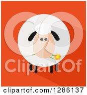 Modern Flat Design Round Fluffy Sheep Eating A Daisy Flower With A Shadow On Orange