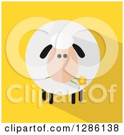Clipart Of A Modern Flat Design Round Fluffy Sheep Eating A Daisy Flower With A Shadow On Yellow Royalty Free Vector Illustration