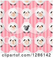 Clipart Of A Background Pattern Of Modern Flat Designed Fluffy Black And White Sheep Over Pink Stripes Royalty Free Vector Illustration