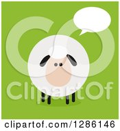 Clipart Of A Modern Flat Design Round Fluffy Sheep Talking On Green Royalty Free Vector Illustration by Hit Toon