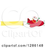 Clipart Of Santa Claus Waving And Flying A Christmas Plane With A Blank Aerial Banner Royalty Free Vector Illustration