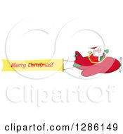 Santa Claus Waving And Flying A Christmas Plane With A Merry Christmas Aerial Banner