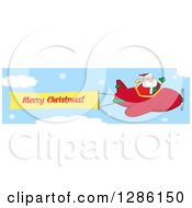 Santa Claus Waving And Flying A Christmas Plane With A Merry Christmas Aerial Banner In A Snowy Sky