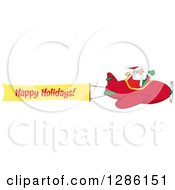 Santa Claus Waving And Flying A Christmas Plane With A Happy Holidays Aerial Banner