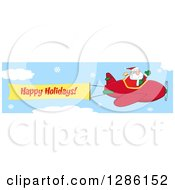 Santa Claus Waving And Flying A Christmas Plane With A Happy Holidays Aerial Banner In A Snowy Sky