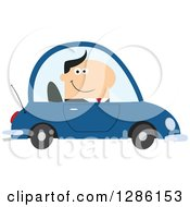 Clipart Of A Modern Flat Design Of A Happy White Businessman Commuting And Driving To Work In A Blue Car Royalty Free Vector Illustration