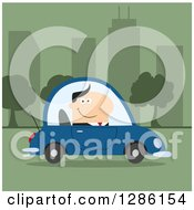 Clipart Of A Modern Flat Design Of A Happy White Businessman Commuting And Driving To Work In A Blue Car In A Green City Royalty Free Vector Illustration by Hit Toon