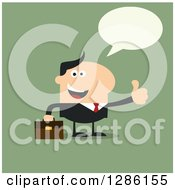 Clipart Of A Modern Flat Design Of A Talking Happy White Businessman Holding A Thumb Up Over Green Royalty Free Vector Illustration