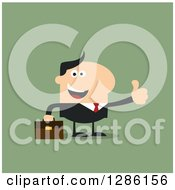 Clipart Of A Modern Flat Design Of A Happy White Businessman Holding A Thumb Up Over Green Royalty Free Vector Illustration