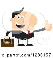 Clipart Of A Modern Flat Design Of A Happy White Businessman Holding A Thumb Up Royalty Free Vector Illustration by Hit Toon