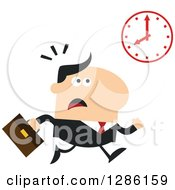 Clipart Of A Modern Flat Design Of A White Businessman Running Late And Glancing At A Clock Royalty Free Vector Illustration