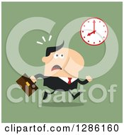 Clipart Of A Modern Flat Design Of A White Businessman Running Late And Glancing At A Clock Over Green Royalty Free Vector Illustration
