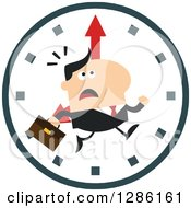 Clipart Of A Modern Flat Design Of A White Businessman Running Late Over A Clock Royalty Free Vector Illustration
