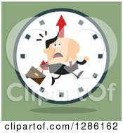 Clipart Of A Modern Flat Design Of A White Businessman Running Late Over A Clock Over Green Royalty Free Vector Illustration