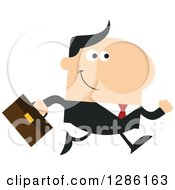 Clipart Of A Modern Flat Design Of A Happy White Businessman Running To Work Royalty Free Vector Illustration by Hit Toon