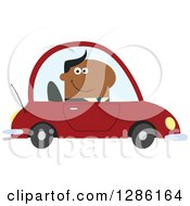 Clipart Of A Modern Flat Design Of A Happy Black Businessman Commuting And Driving To Work In A Red Car Royalty Free Vector Illustration