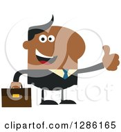 Clipart Of A Modern Flat Design Of A Happy Black Businessman Holding A Thumb Up Royalty Free Vector Illustration