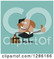 Clipart Of A Modern Flat Design Of A Happy Black Businessman Holding A Thumb Up Over Blue Royalty Free Vector Illustration