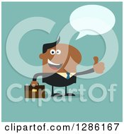 Clipart Of A Modern Flat Design Of A Talking Happy Black Businessman Holding A Thumb Up Over Blue Royalty Free Vector Illustration