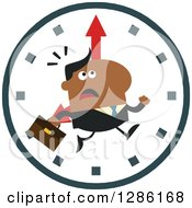 Clipart Of A Modern Flat Design Of A Black Businessman Running Late Over A Clock Royalty Free Vector Illustration