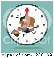 Clipart Of A Modern Flat Design Of A Black Businessman Running Late Over A Clock Over Blue Royalty Free Vector Illustration