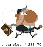 Clipart Of A Modern Flat Design Of A Happy White Businessman Running To Work Royalty Free Vector Illustration