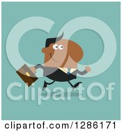 Clipart Of A Modern Flat Design Of A Happy White Businessman Running To Work Over Blue Royalty Free Vector Illustration