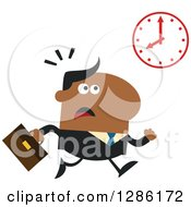 Clipart Of A Modern Flat Design Of A Black Businessman Running Late And Glancing At A Clock Royalty Free Vector Illustration by Hit Toon
