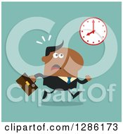 Clipart Of A Modern Flat Design Of A Black Businessman Running Late And Glancing At A Clock Over Blue Royalty Free Vector Illustration