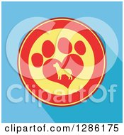 Clipart Of A Modern Flat Design Of A Red And Yellow Circle Of A Silhouetted Dog In A Heart Shaped Paw Print Over Blue With Shadows Royalty Free Vector Illustration by Hit Toon