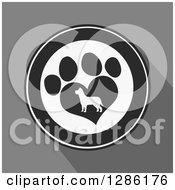 Clipart Of A Modern Flat Design Of A Black And White Circle Of A Silhouetted Dog In A Heart Shaped Paw Print Over Gray With Shadows Royalty Free Vector Illustration by Hit Toon