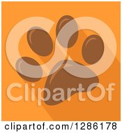 Clipart Of A Modern Flat Design Of A Brown Pet Paw Print And Shadows On Orange Royalty Free Vector Illustration by Hit Toon