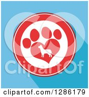 Clipart Of A Modern Flat Design Of A Red And White Circle Of A Silhouetted Dog In A Heart Shaped Paw Print Over Blue With Shadows Royalty Free Vector Illustration by Hit Toon