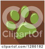 Clipart Of A Modern Flat Design Of A Green Pet Paw Print And Shadows On Brown Royalty Free Vector Illustration