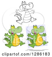 Clipart Of Cartoon Alligators Or Crocodiles Jumping Royalty Free Vector Illustration by Hit Toon