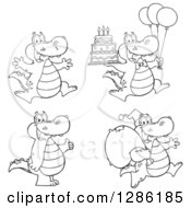 Clipart Of Black And White Cartoon Alligators Or Crocodiles Jumping Holding Birthday Cake Thumb Up And Santa Royalty Free Vector Illustration by Hit Toon