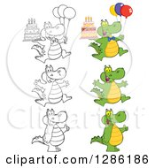 Clipart Of Cartoon Alligators Or Crocodiles Giving Thumbs Up Jumping And Holding Birthday Cakes Royalty Free Vector Illustration by Hit Toon