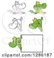 Clipart Of Cartoon Alligators Or Crocodiles Looking Around And Over Signs Royalty Free Vector Illustration by Hit Toon