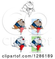 Clipart Of Black And White Brown And Gray Bulldogs Using Jackhammers Royalty Free Vector Illustration by Hit Toon