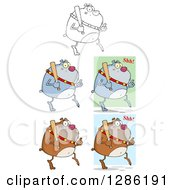 Clipart Of Black And White Brown And Gray Bulldogs Sneaking With Baseball Bats Royalty Free Vector Illustration