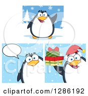 Clipart Of A Cartoon Penguins With Snow Talking And Holding Christmas Gifts Royalty Free Vector Illustration