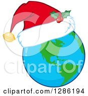 Clipart Of An Earth Globe Wearing A Christmas Santa Hat Royalty Free Vector Illustration
