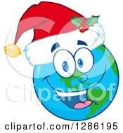 Clipart Of A Happy Smiling Earth Globe Character Wearing A Christmas Santa Hat Royalty Free Vector Illustration