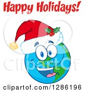 Clipart Of A Smiling Earth Globe Character Wearing A Christmas Santa Hat Under Happy Holidays Text Royalty Free Vector Illustration