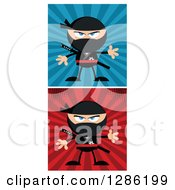 Clipart Of Cartoon Ninja Warriors Over Blue And Red Rays Royalty Free Vector Illustration